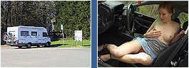 Ein Girl bietet Sexdienste an der Autobahn